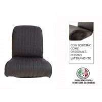 Rivestimento sedile anteriore sinistro skai nero areato angolo tondo, chiuso lateralmente, finitura bordo originale