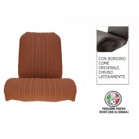 Rivestimento sedile anteriore sinistro skai marrone areato angolo tondo, chiuso lateralmente, finitura bordo originale