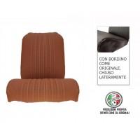 Rivestimento sedile anteriore destro skai marrone areato angolo tondo, chiuso lateralmente, finitura bordo originale