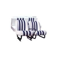 Kit completo sedili anteriori (dx+sx) e panchetta posteriore skai bianco righe blu