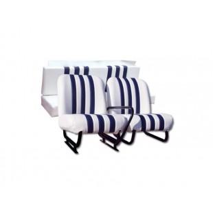 3809 Kit sedilimehari skai bianco righe blu