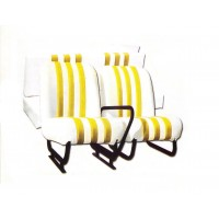 3811 Kit sedilimehari skai bianco righe gialle