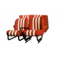 Kit completo sedili anteriori (dx+sx) e panchetta posteriore skai rosso righe bianche