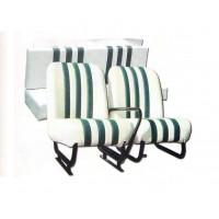 3846 Kit sedilimehari skai bianco righe verdi