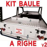 5503 Sportello baule superiore Mehari per creazione bauletto posteriore BIANCO a RIGHE (accessori inclusi)