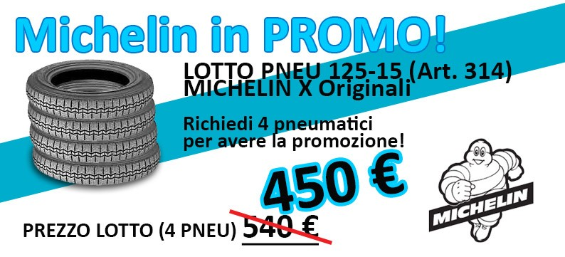 Lotto 4 pneumatici Michelin 125R15 (art. 314) scontatissimo