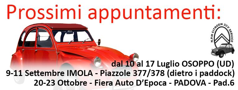 N.P.M. Citroen 2CV Service - Prossimi appuntamenti Fiere & Raduni (Padova, Imola)