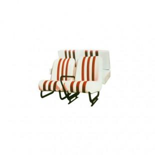 3850 Kit sedili anteriori dx+sx + panchetta posteriore completi skai bianco righe arancio