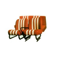 Kit sedili anteriori dx+sx + panchetta posteriore completi skai arancio righe bianche