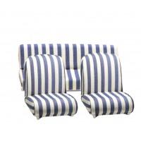 3814 Kit foderine per sedili Mehari ant+post cotone banco a righe blu