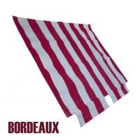 Tenda capote parasole righe bianche-bordeaux 2CV per chiusura esterna (barra anteriore fissaggio inclusa) prod. NPM
