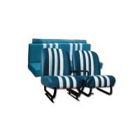 3853 Kit sedili anteriori dx+sx + panchetta posteriore completi skai azzurro ESKI righe bianche